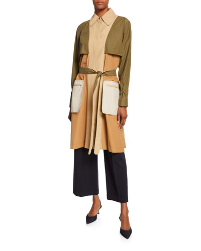 Colorblocked Twill Trench Coat and Matching Items