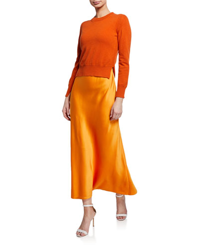 Cross-Back Bias-Cut Halter Slip Dress