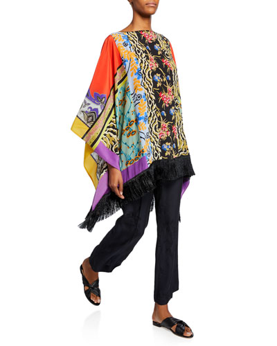 Fringe Hem Collage Patchwork Poncho and Matching Items