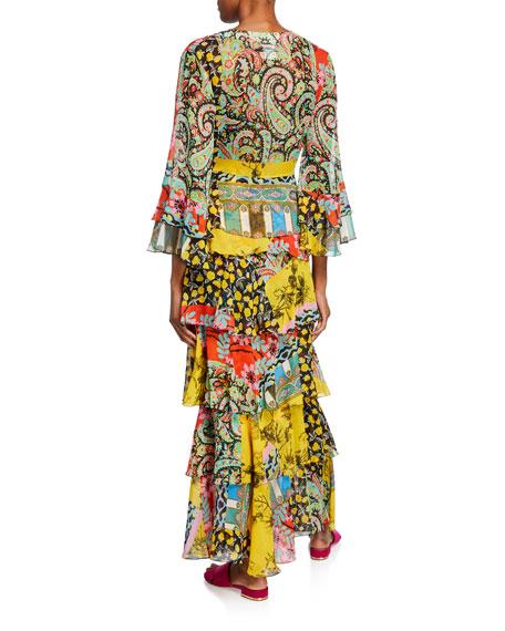 Paisley Collage Chiffon Wrap Blouse