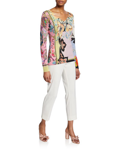 Paisley Silk-Cashmere V-Neck Sweater and Matching Items