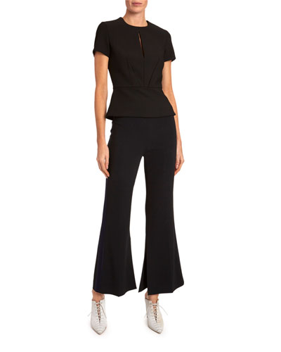 Madison Slight Boot-Cut Tux Striped Pants