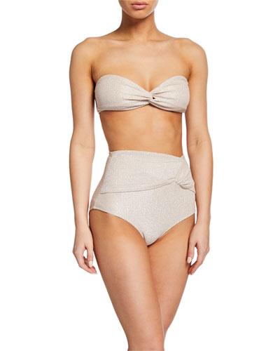 Metallic Twist-Front Bikini Top and Matching Items