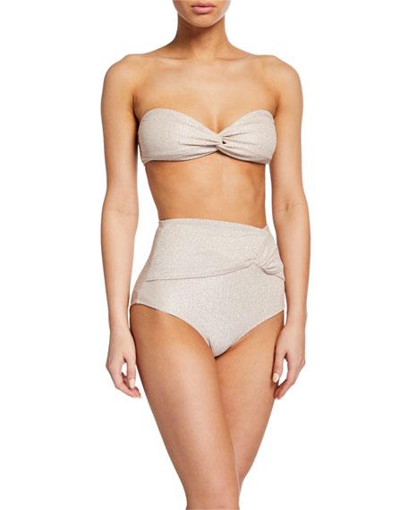 Metallic Twist-Front Bandeau Bikini Top