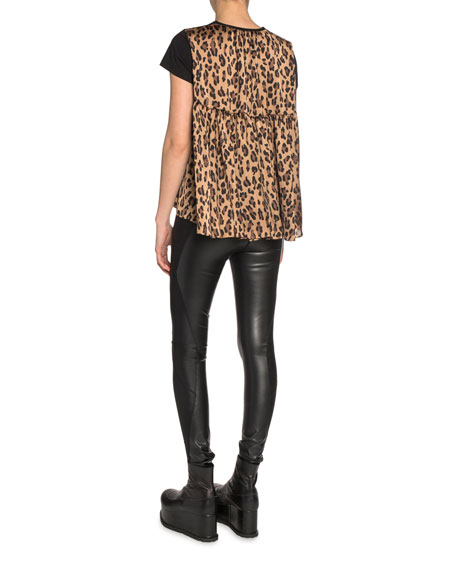 Cotton-Front Tee with Leopard-Print Chiffon Back