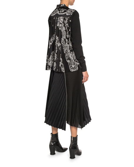 Wool-Front Cardigan with Paisley-Print Satin Back