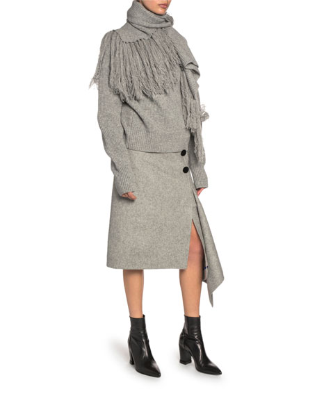 Draped Scarf-Neck Wool Turtleneck Sweater
