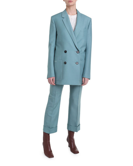 Wool Twill Double-Breasted Blazer