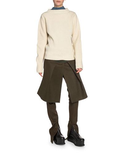 Denim-Back Ribbed-Knit Mock-Neck Sweater