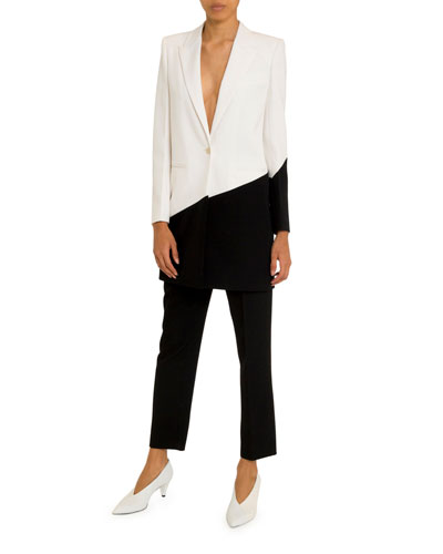 Asymmetric Bicolor Long Blazer and Matching Items