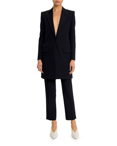 Long Wool One-Button Blazer and Matching Items