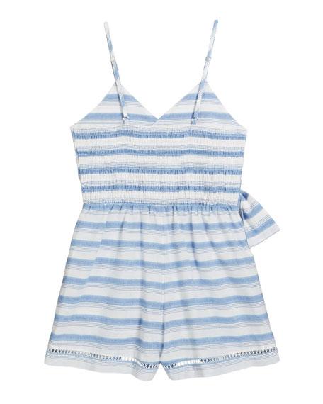 Perla Stripe Wrap Sleeveless Romper, Size 4-6X