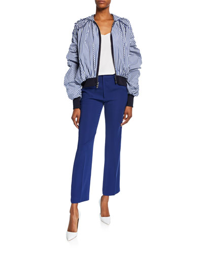 Ruched-Sleeve Zip-Front Gingham Sweatshirt and Matching Items
