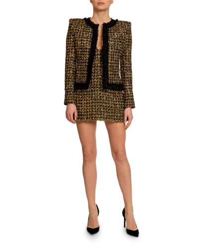 Metallic Tweed Open-Front Jacket and Matching Items