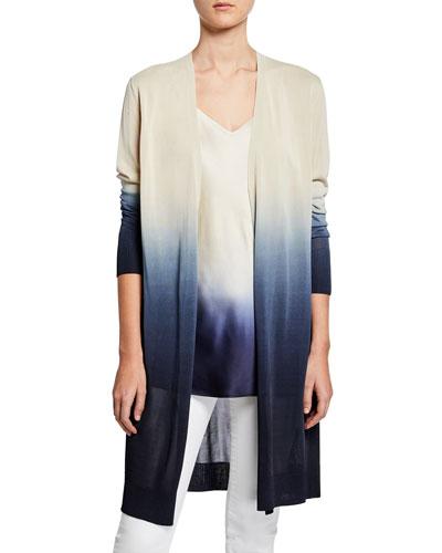 Dip-Dye Metropolitan Shine Open-Front Cardigan and Matching Items