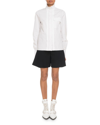 High-Neck Poplin Button-Front Utility Shirt and Matching Items