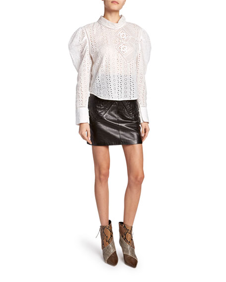 Eyelet-Lace Puff-Sleeve High-Neck Top