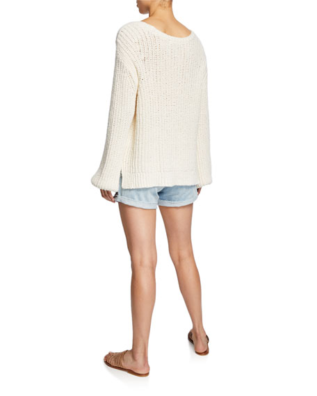 Blouson-Sleeve Swing Sweater
