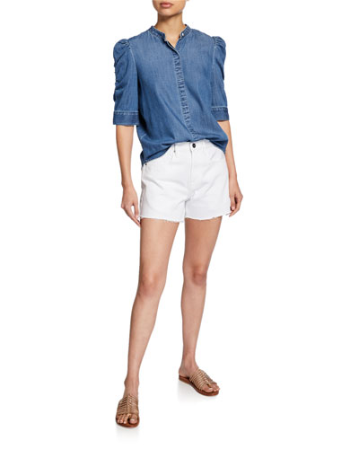 Button-Front Elbow-Sleeve Shirred Denim Shirt and Matching Items