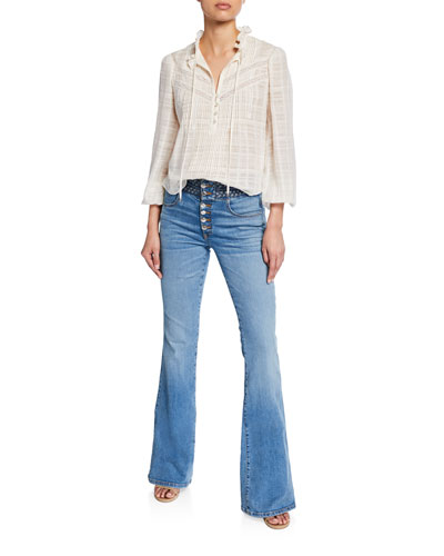 Jamie High-Neck Cotton Long-Sleeve Blouse and Matching Items