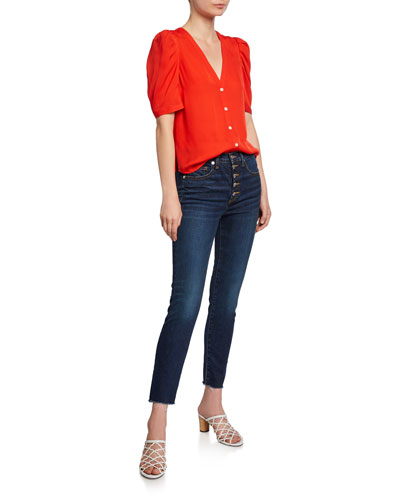 Garland V-Neck Button-Front Silk Blouse and Matching Items