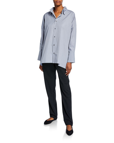 wide a-line back pleat shirt