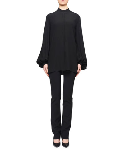 Vara Mock-Neck Poet-Sleeve Silk Blouse and Matching Items