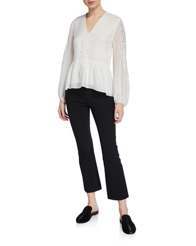 V-Neck Blouson-Sleeve Silk Lace Top and Matching Items
