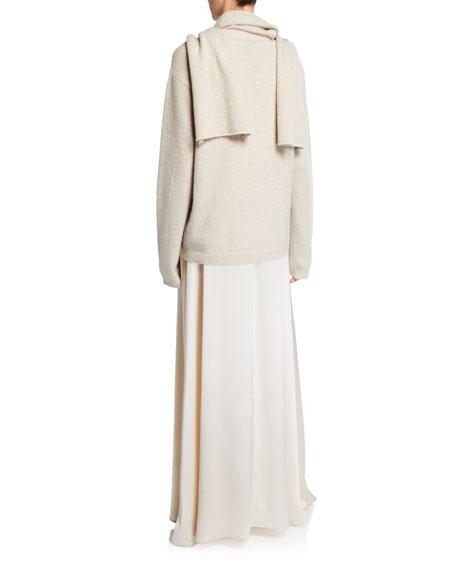 Jewel-Neck Sleeveless Long Satin Gown