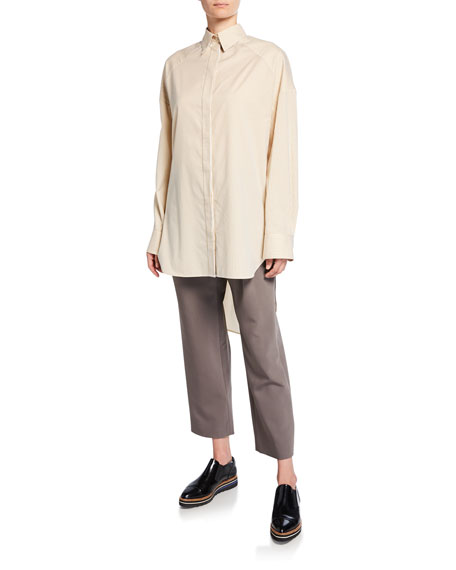 Striped Button-Down High-Low Cotton Panel Shirt