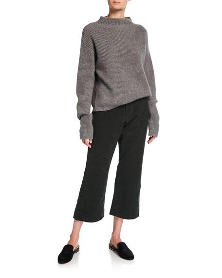 Cropped Flare-Leg Brushed Moleskin Pants
