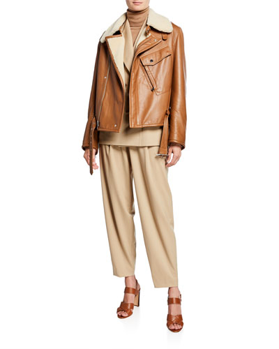 Williamson Leather Shearling-Trim Flight Jacket and Matching Items
