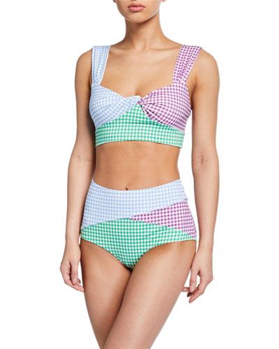 Sagaponack Check Twist-Front Bikini Top and Matching Items
