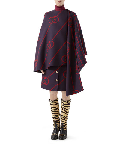 Interlocking G Button Wool Cape Coat and Matching Items