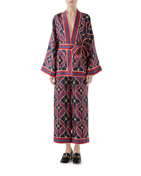 Interlocking G Ribbon-Print Kimono Top