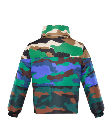 Mixed Camo-Print Puffer Jacket, Size 8-14