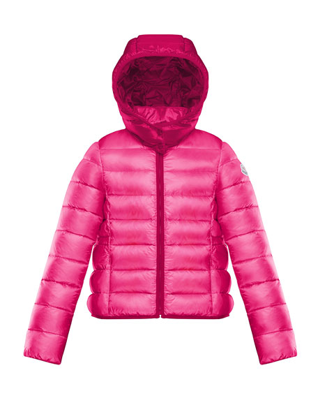 Hooded Contrast-Trim Puffer Jacket, Size 4-6