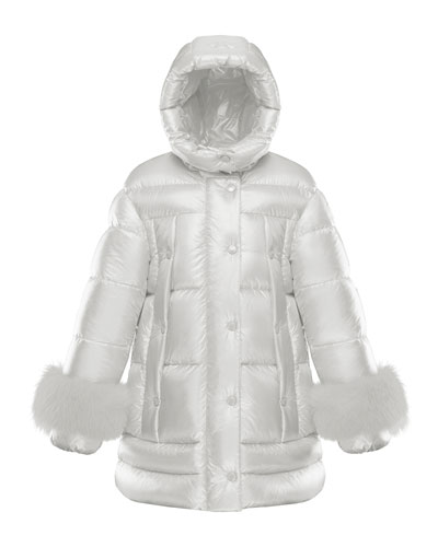 Girl's Quilted Long Coat w/ Fur Trim  Size 8-14 and Matching Items
