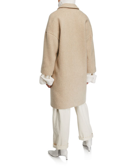 Curly-Cashmere Dropped Shoulder Coat