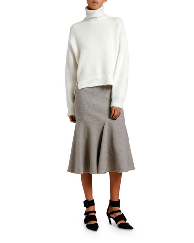 Notched-Front Turtleneck Sweater and Matching Items