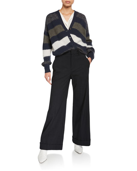 Mohair Striped Button-Front Cardigan