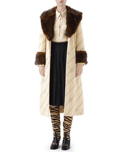 Pleated Wool Midi Skirt