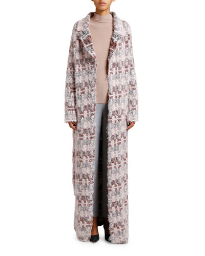 Floating-Stitch Belted Long Coat and Matching Items