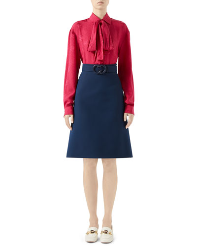 Knee Length Cady Crepe Skirt w/ GG Belt  and Matching Items