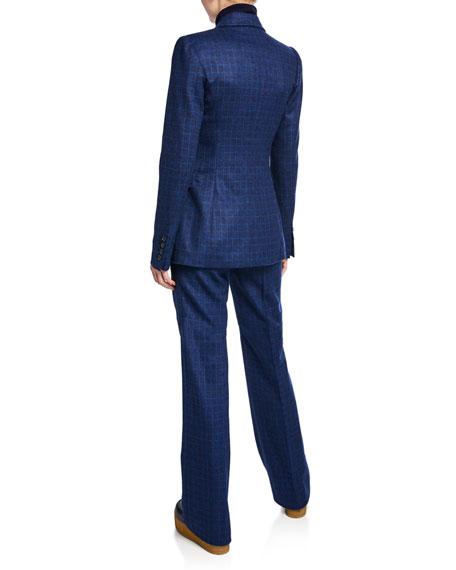 Angela Windowpane Button-Front Wool Blazer