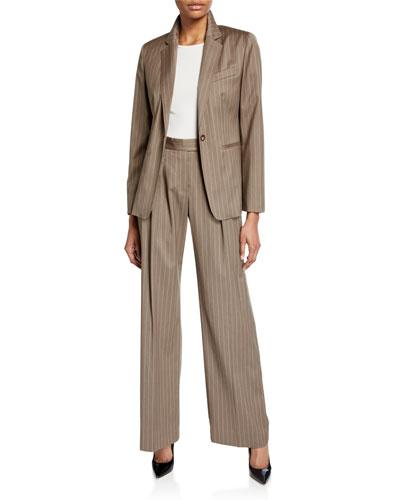 bd536624c1e Kuens Pinstriped Virgin Wool One-Button Jacket and Matching Items Quick Look.  Maxmara