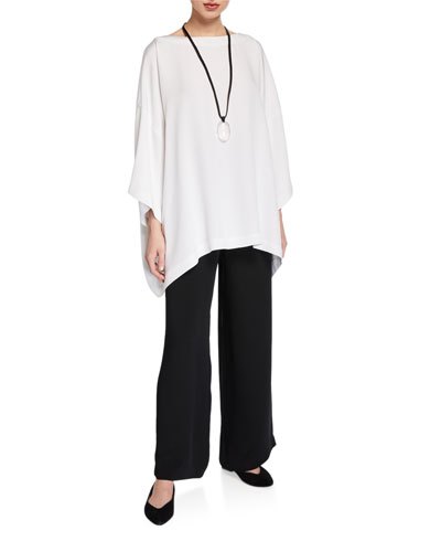 3/4-Sleeve Silk Boat-Neck Blouse and Matching Items