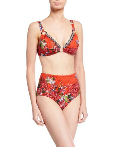 Floral Print Ring-Trim Bikini Top and Matching Items