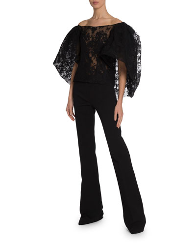 LACE PUFFY CAPE CORSETED TOP