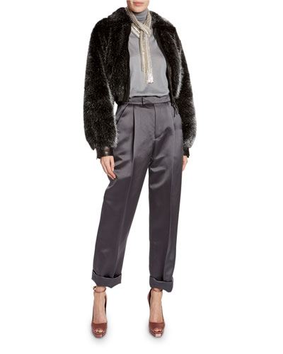 Foiled Faux-Fur Bomber Jacket and Matching Items
